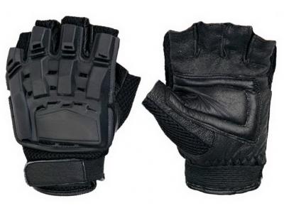 Перчатки тактические, обрезанные пальцы, пластиковые накладки Black