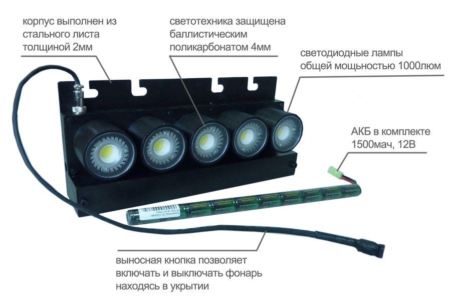 5-ти ламповый щитовой фонарь