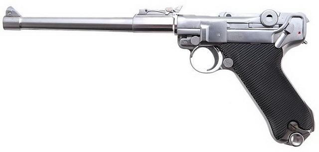 Страйкбольный  пистолет WE, Luger Long GBB - Silver