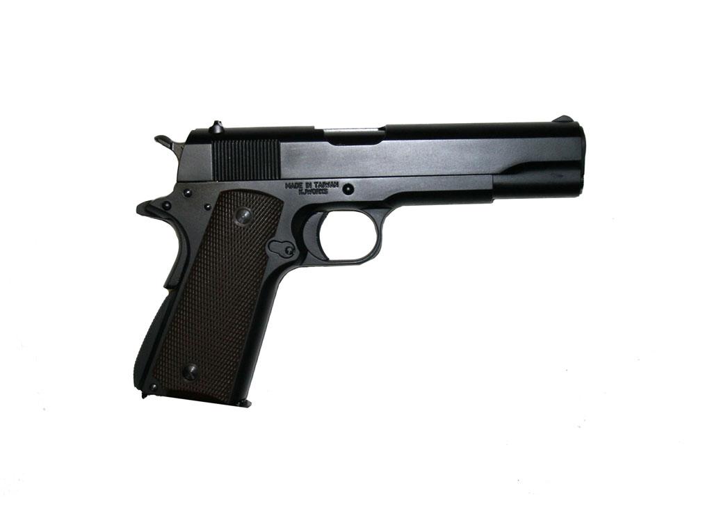ПИСТОЛЕТ ПНЕВМ. KJW COLT M1911A1 GBB, GAS, черный, металл, модель - 1911.GAS