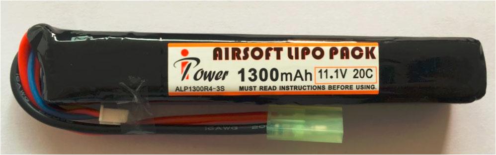 """АКБ iPower 11.1V LiPO 1300mAh 20C  ALP1300R4A-3S 18x20x130 mini type  (в приклад """"весло"""")"""